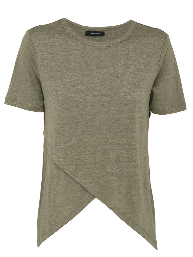 crossover linen tee moss top free and form fashion