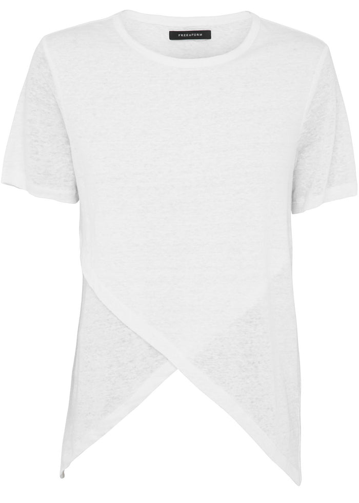crossover linen tee white top free and form fashion