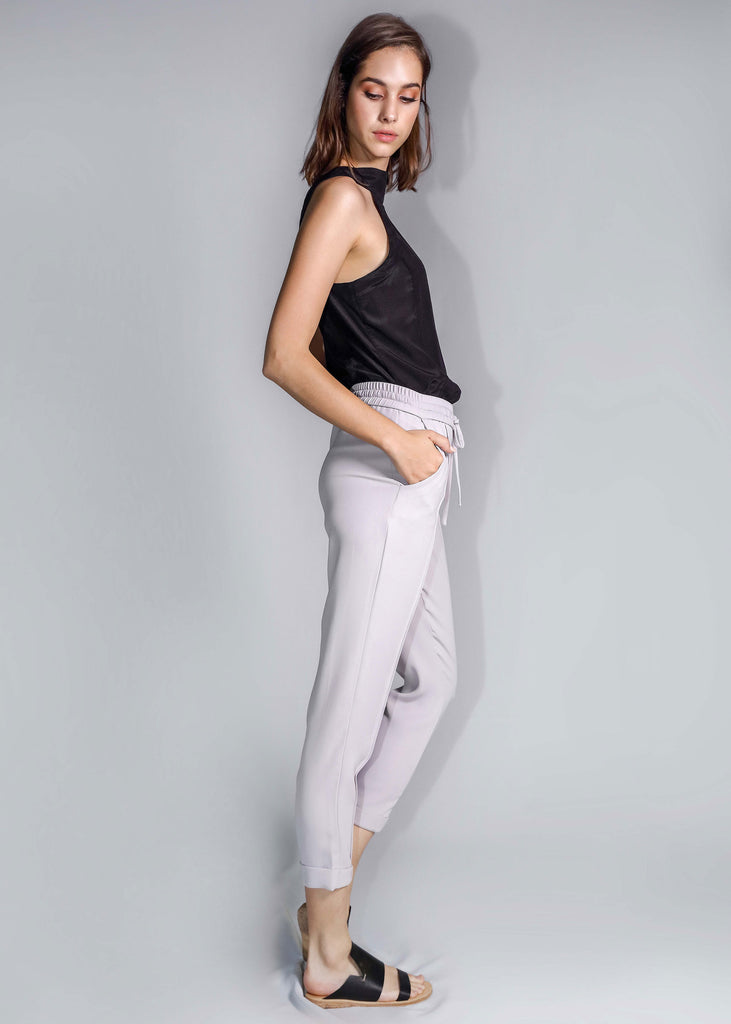 freeandform pants waist bottom trouser drawstrings ash mauve
