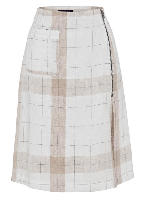 checked linen skirt beige white womenswear fashion luxury label free and form