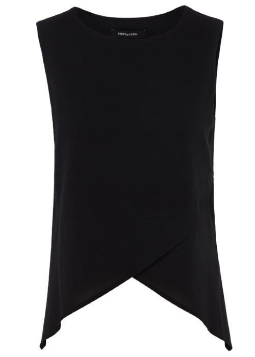 crossover silk top black free and form designer clothing  free and form fashion