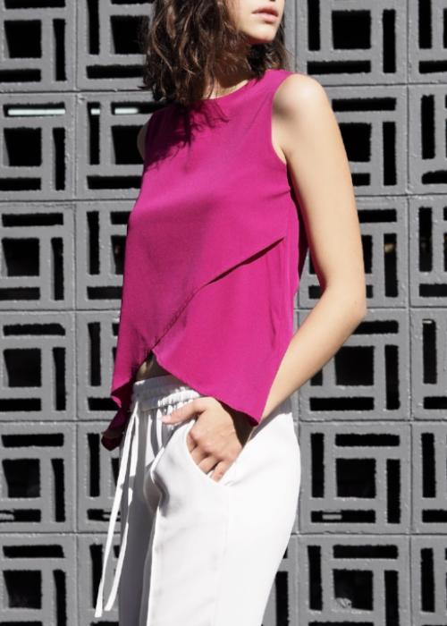 crossover silk top pink fuchsia free and form designer clothing