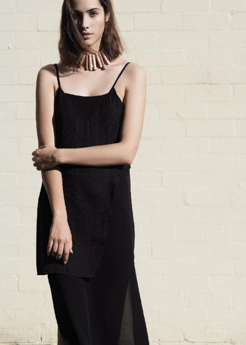 layer slip dress black overlay free and form designer clothing