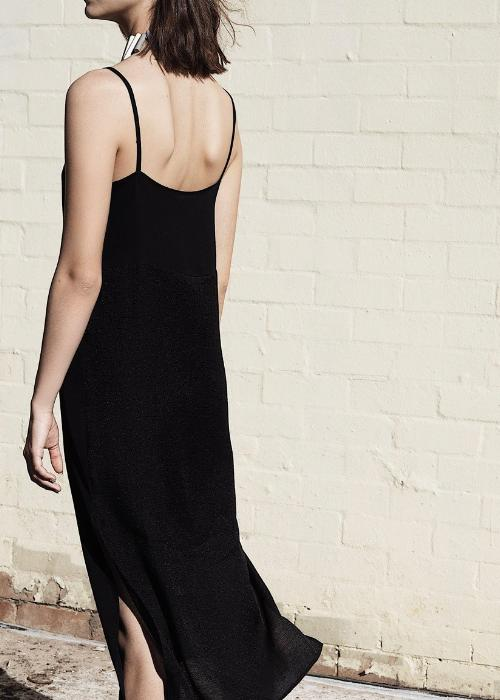 layer slip dress black overlay  womenswear fashion luxury label free and form