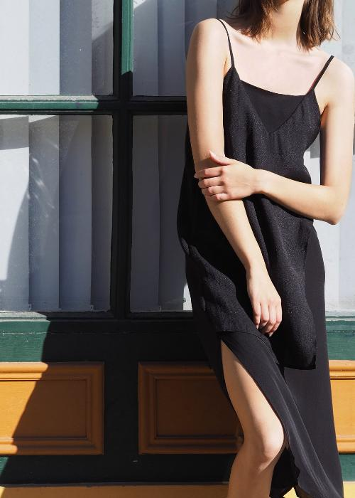 layer slip dress black overlay free and form designer clothing georgette silk