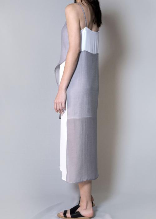 layer slip dress silver grey gray overlay free and form designer clothing