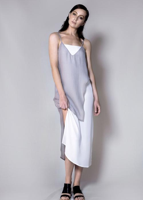 layer slip dress silver overlay free and form designer clothing