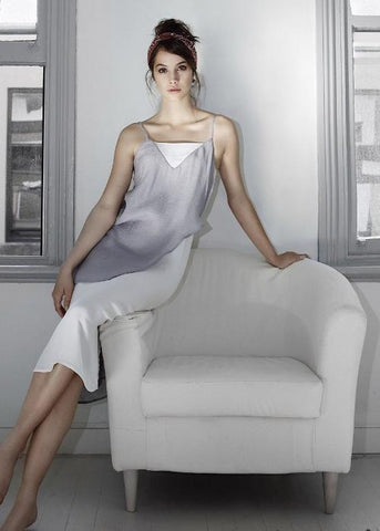 layer slip dress silver grey gray highend silk georgette freeandform
