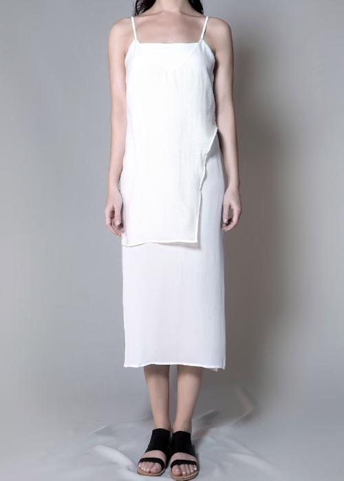 layer slip dress white overlay free and form designer clothing