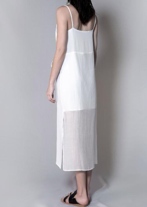 layer slip dress white highend cotton silk linen freeandform