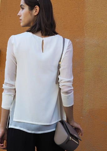 layered silk blouse white highend cotton silk linen freeandform top long sleeve