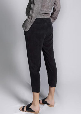 overlap cupro trouser black rayon highend freeandform cropped waist