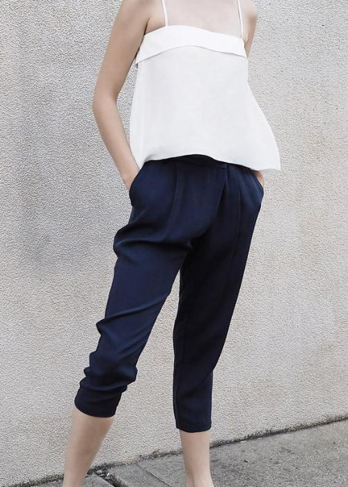 overlap cupro trouser navy rayon highend freeandform cropped waist