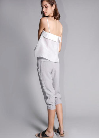 overlap cupro trouser gray grey rayon highend freeandform cropped waist