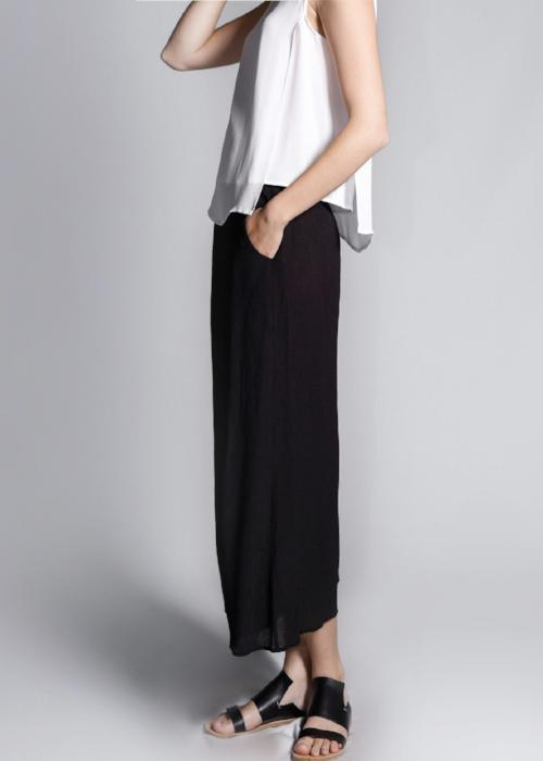 rib woven culottes black loose pants bottom womenswear fashion luxury label free and form