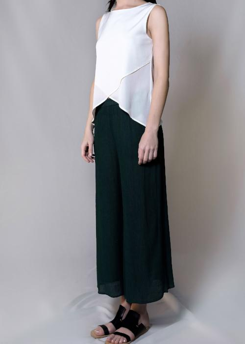 rib woven culottes green forest loose pants bottom womenswear fashion luxury label free and form