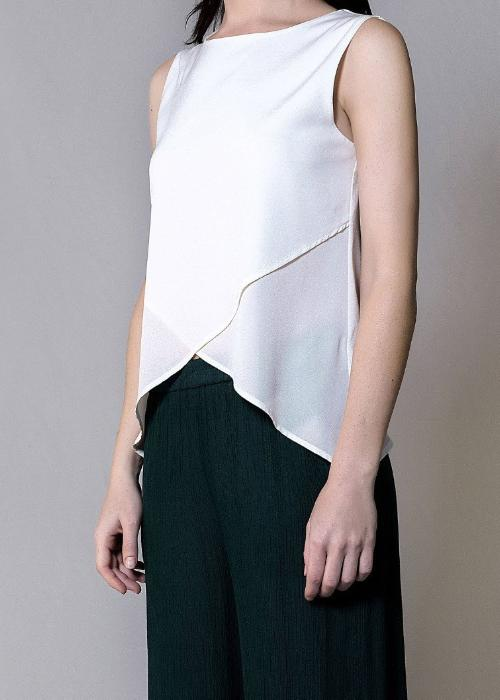 crossover silk top ivory white womenswear fashion luxury label free and form