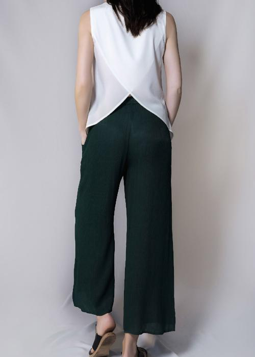 rib woven culottes green forest loose pants bottom free and form designer clothing