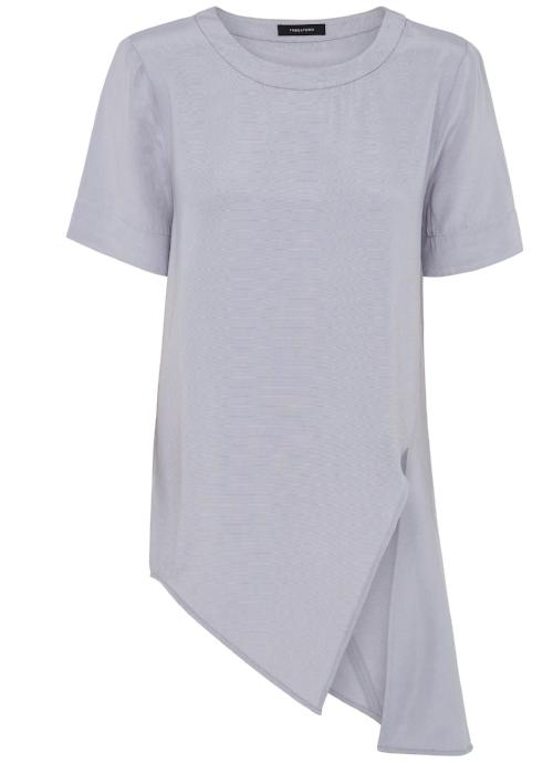 tuck it tunic top grey gray rayon cupro blouse womenswear fashion luxury label free and form