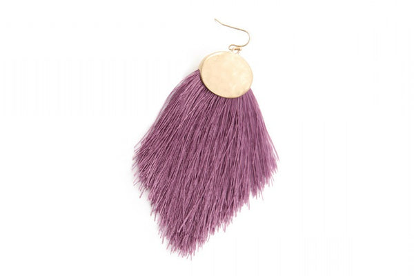 Purple feathered post earrings