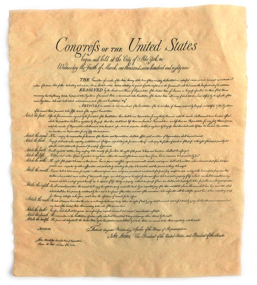 US Bill of Rights Parchment