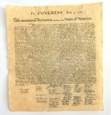The Declaration of Independence Parchment Replica