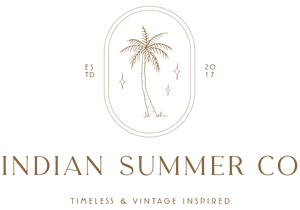 Indian Summer Co logo plam Vintage inspired timeless