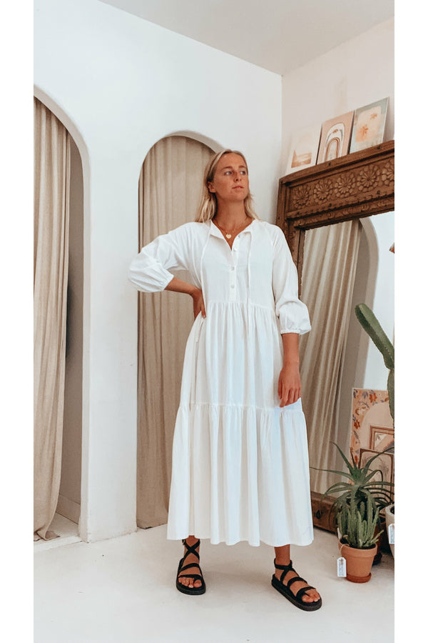 Essentials Smock Maxi Dress - Off White