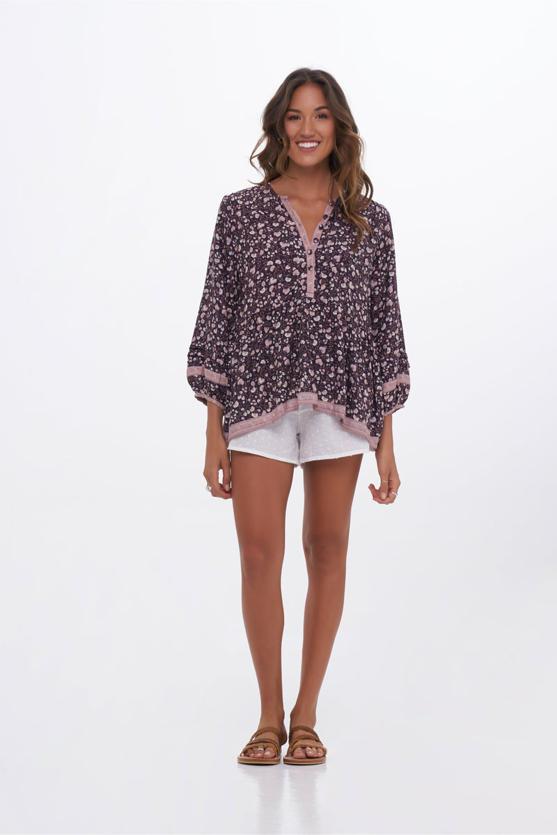 Willow Leaf Blouse - Midnight