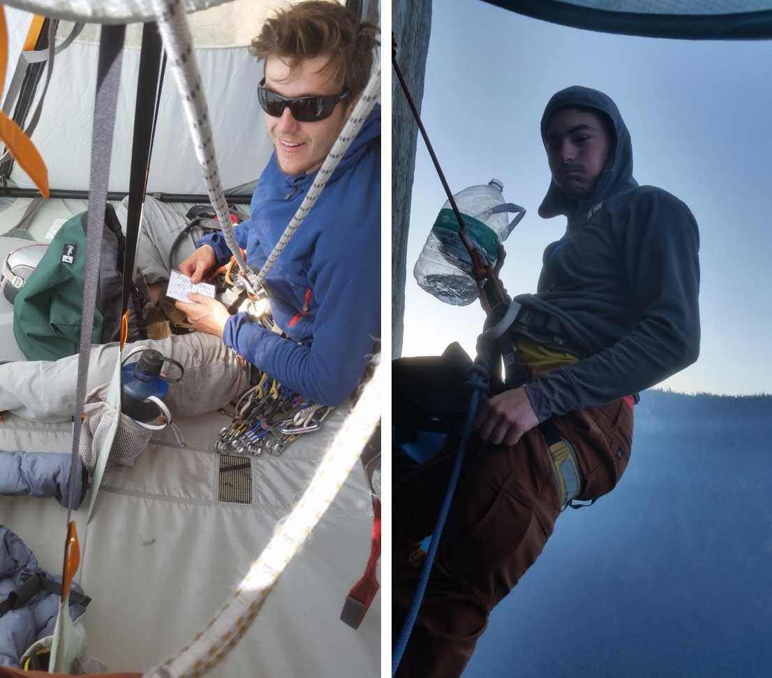 James Davidson and Axel Tritton on the exposed portaledge camp of The Shield, El Capitan