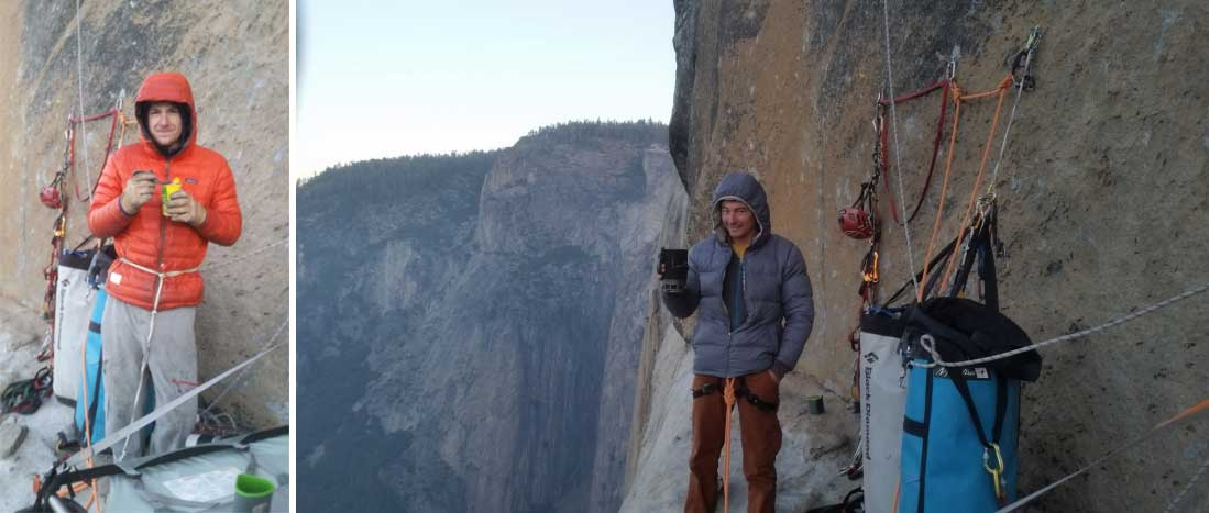 James and Axel get some standing time on Chicken Head Ledge nearing the top of The Shield, El Capitan