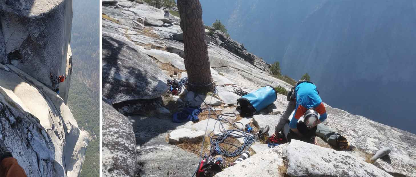 The final pitches and summit of The Shield on El Capitan Yosemite