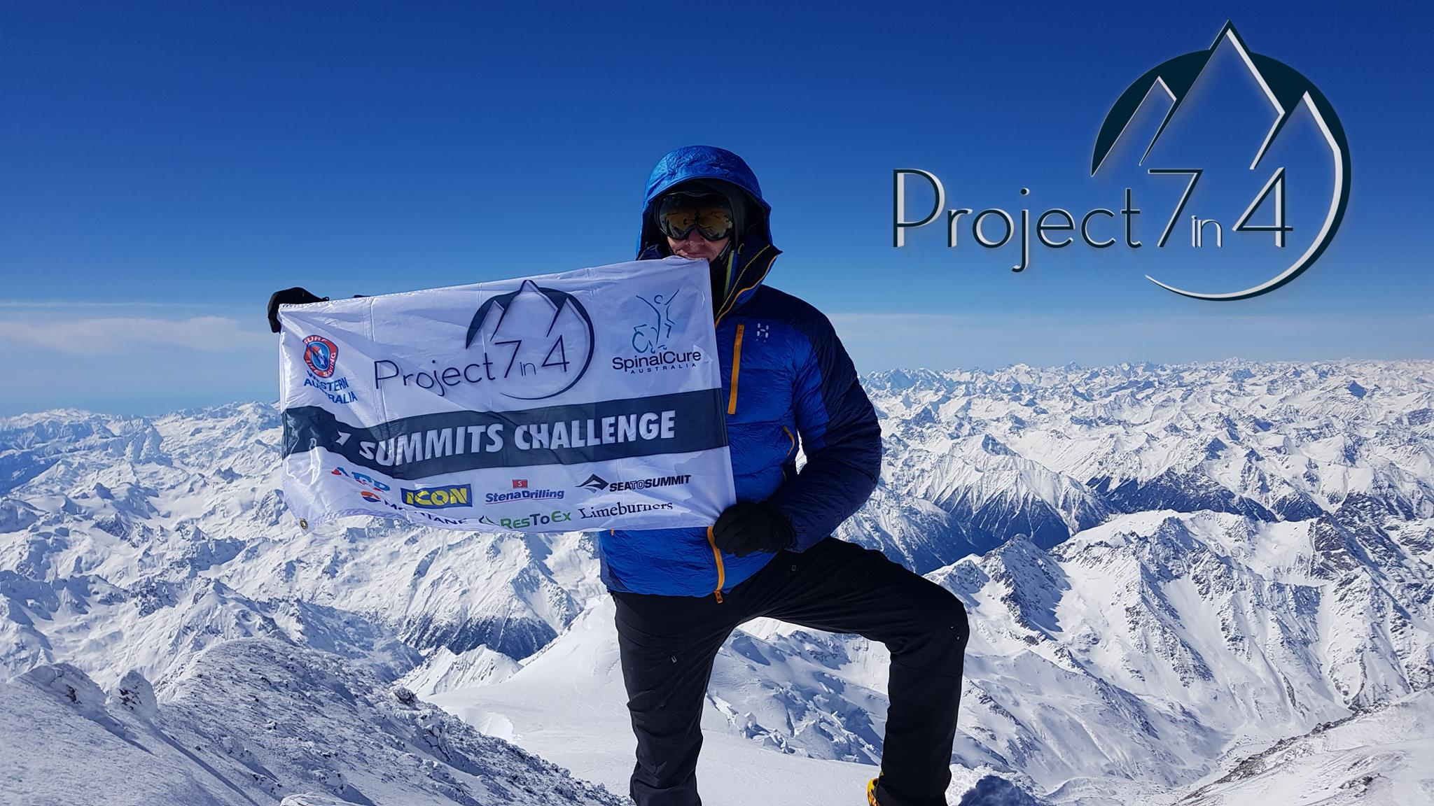Project 7in4 Steve Plain world record attempt - summit of Elbrus