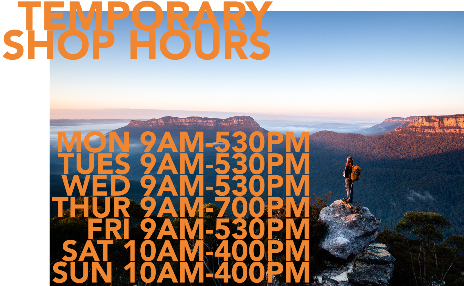 Mountain Equipment Sydney & Chatswood Temporary Store Hours