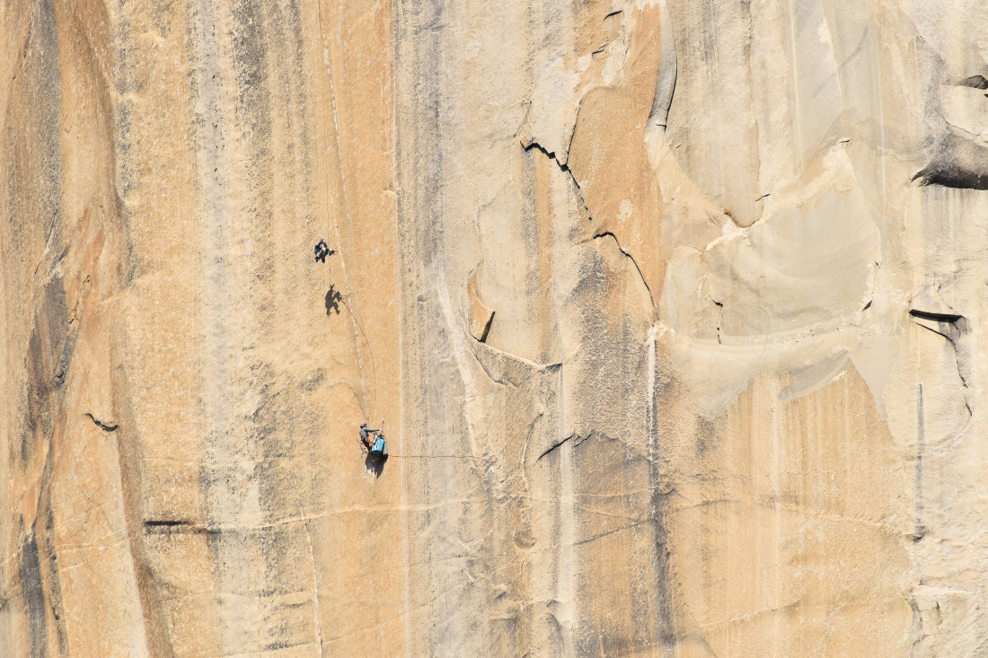 "Axel and James jummaring back up the ""triple cracks"" on the Shield headwall, El Cap"