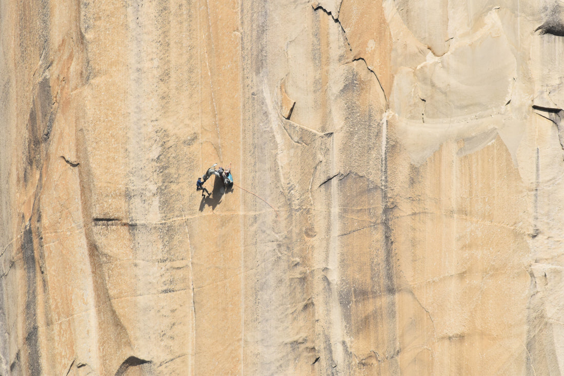 James and Axel packing up their portaledge on The Shield hanging camp, El Capitan