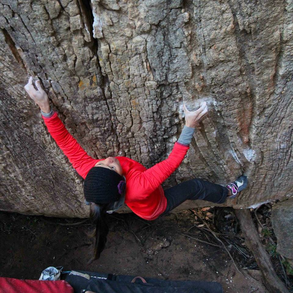 Shay on Caroline (v10)  in the Rocklands, South Africa