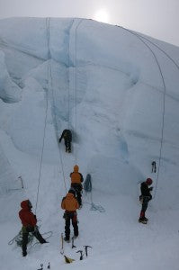 Ice climbing on glacier walls. Photo: Jamie Robertson