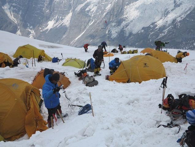 The re-established camp 2 with avalanche debris