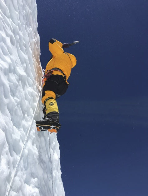 The crux vertical ice wall above Camp 4