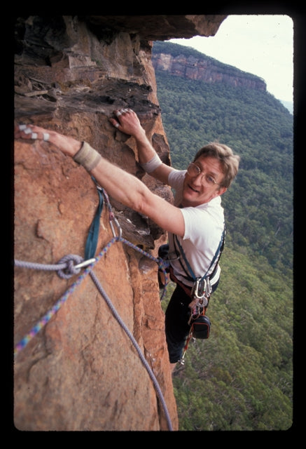 John Ewbank on Clockwork Orange in the Blue Mountains in 1993. Photo by Greg Child.