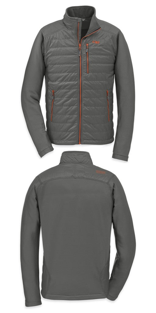 The Outdoor Research Acetylene jacket. A hybrid mid layer with mapped warmth and wicking areas