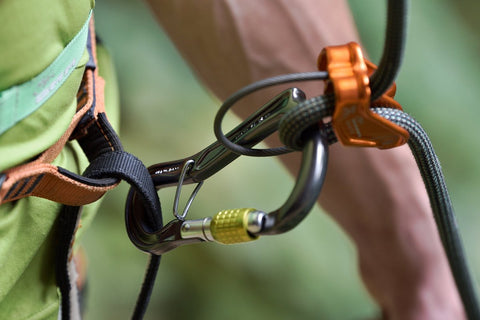 DMM Ceros Climbing Belay Carabiner with tubular belay device