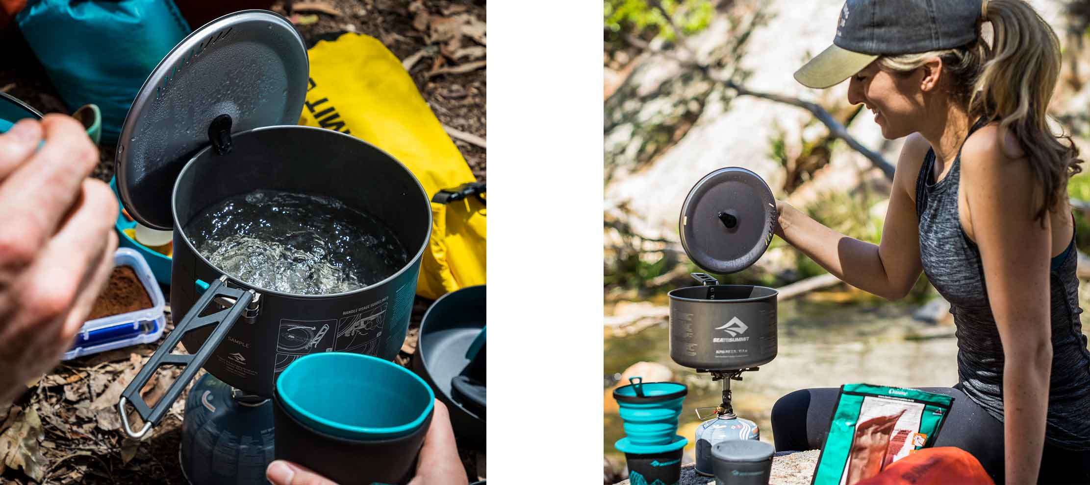 Sea To Summit Alpha Pots with lid keep in action