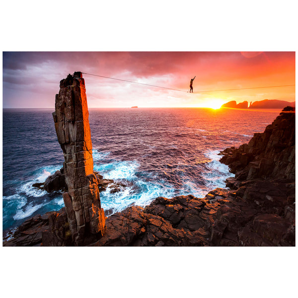 Kamil Sustiak - Print by Kamil Sustiak - Highlining the Moai, Fortescue Bay Tasmania