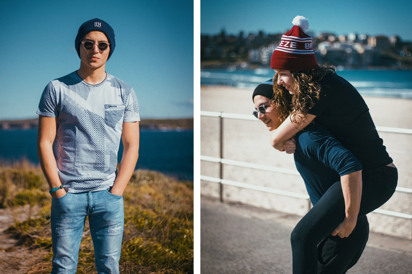 The Classic // Navy (Left) & The Mama Knit // Black and Burgundy (Right)