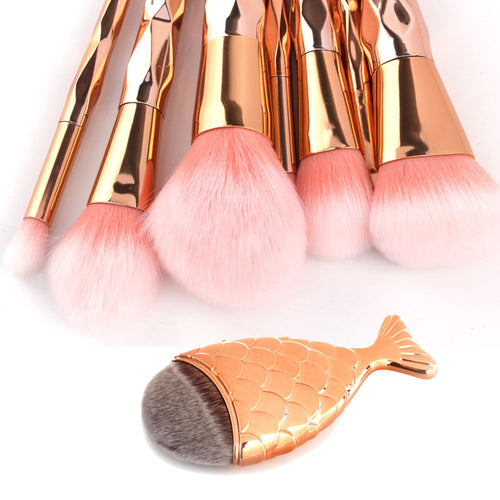 8 PIECE ROSE GOLD MAKEUP BRUSH SET