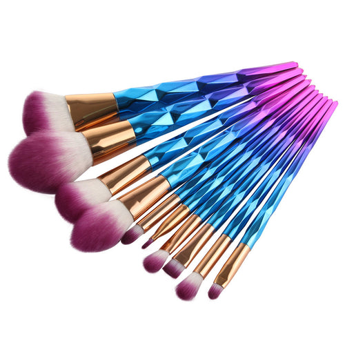 10 PIECE GOLD MAKEUP BRUSH SET