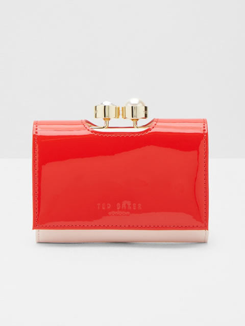 Alix - Pearl Bobble Small Leather Purse in Bright Orange