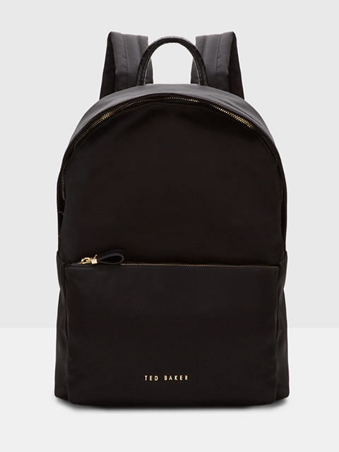 Kelda - Textured Trim Backpack in Black